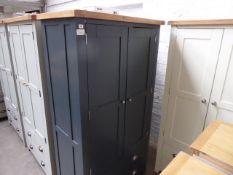 Blue painted and oak 2 door kitchen larder unit, 100cm wide