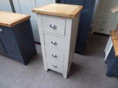 Grey painted oak 4 drawer tallboy, 45cm wide