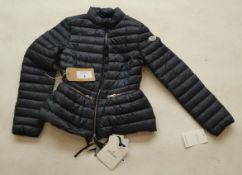 Moncler girl's longue saison jacket in navy size XS
