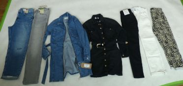 Selection of denim wear to include Bershka, River Island, Pull & Bear, etc (sizes on 2nd photo)