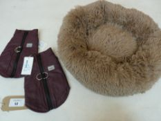 Small fluffy dog bed in taupe together with two harness jackets both size M