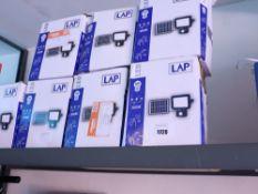 7 boxed LAP LED solar powered flood lights