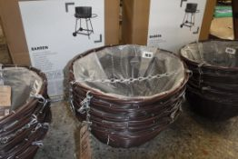 Stack of 5 brown rattan effect 14'' hanging baskets