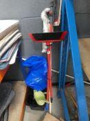 Small plastic mop bucket, mop, brush, floor cleaner, etc