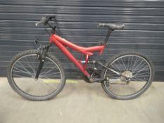 Red suspension mountain bike