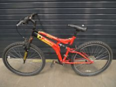 Yellow and red Universal suspension mountain bike