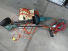 Green electric strimmer and Black & Decker hedge cutter
