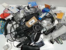 Bag containing cables, leads, PSUs, remote controls, adapters, controllers, PC mice, etc