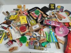 Bag containing quantity of various smoking related accessories; trays, tins, papers, pipes, etc