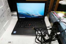 Lenovo Thinkpad model X280. Intel i7 8th generation processor, 16GB RAM, 256GB storage, Windows 10