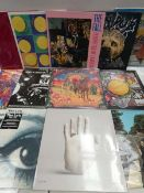 Box containing quantity of LP and 45 records to include Beach House, The Fall, Neil Young, The
