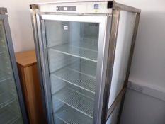 67cm Gram glass fronted single door display fridge in mobile trolley