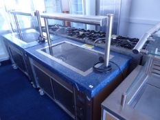 135cm Electric Grundy Eclipse mobile heated servery with ceramic top and sliding cupboard under