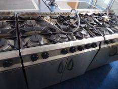90cm LPG Moorwood Vulcan 6 burner cooker with double door oven under on castors