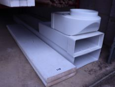 2 white painted window boards and plastic ducting