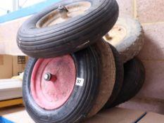7 Assorted wheelbarrow wheels
