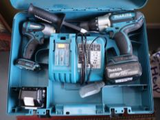 Makita BHP451 twin pack screw gun and impact driver with 2 batteries and charging station