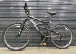 Hyper black and silver suspension mountain bike