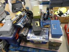 Large pallet of assorted tools to include Workzone soldering iron kits, sanders, toolbags, drill