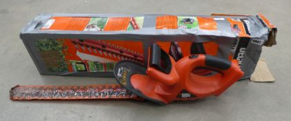 Boxed Black and Decker battery powered hedge cutter, no battery or charger