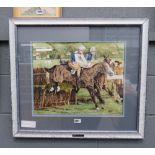 Watercolour of a horse race, entitles ''Bandalore''