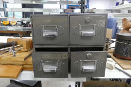 Metal 4 drawer card index unit with contents of 2 spoke shaves, micrometers and book binding