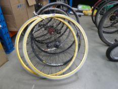 Nine bicycle wheels