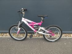 Full suspension 5 Speed Ammaco mountain bike in pink and white