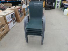 Five green fabric stacking garden chairs on grey metal supports