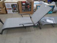 Large grey garden recliner on grey tubular frame