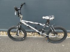 Silver and black BMX
