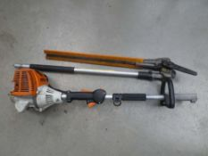 Stihl KM90R petrol powered multi tool with hedgecutter attachment