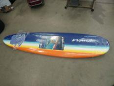 Orange and yellow surfboard