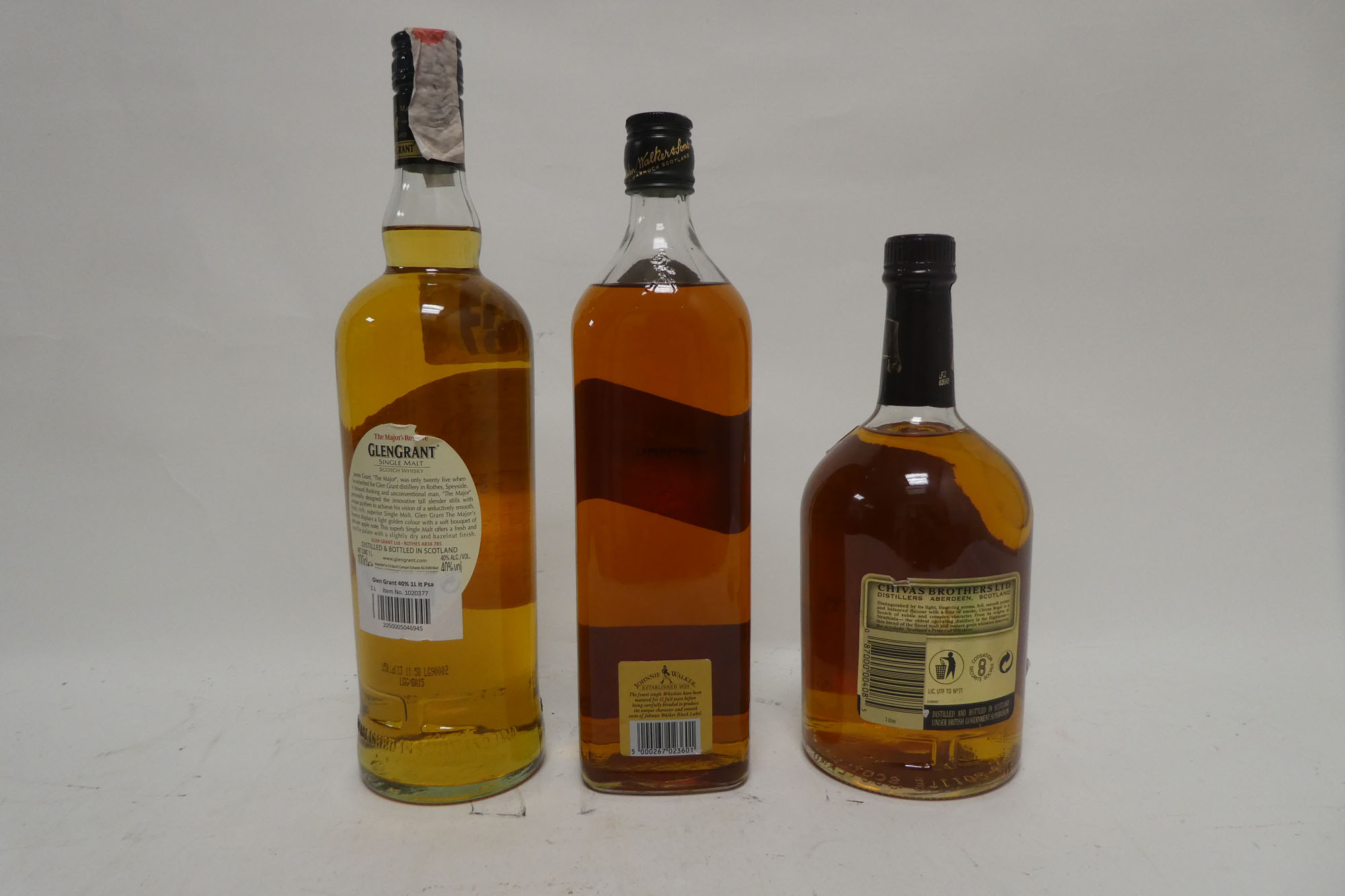 3 bottles, 1x Johnnie Walker Black Label 12 year old Scotch Whisky Duty Free label 1 Litre 43%, 1x - Image 2 of 2