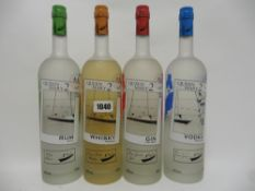 A set of 4 bottles, Cunard's Queen Mary 2 Pure Malt Whisky, White Rum,