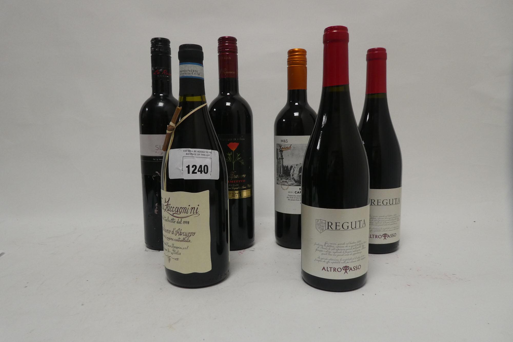 6 bottles Italian Red wines, 1x IL Papavero Primitivo Puglia 2019, 1x M&S Found Nerello Cappuccio