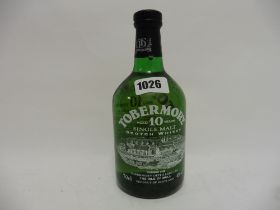A bottle of Tobermory 10 year old Single Malt Scotch Whisky from The Isle of Mull old style bottle