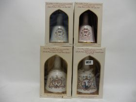 4 Royal Celebration Bell's Decanters with boxes for the Weddings of Prince Charles 1981,