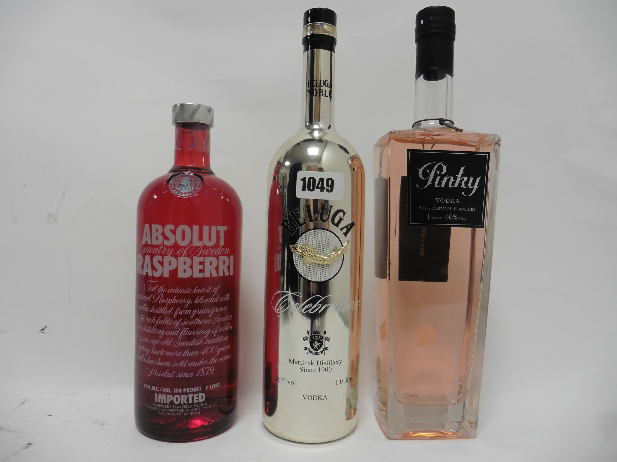 3 bottles of Vodka, 1x Beluga Noble Celebration Russian Vodka 1 litre 40%,
