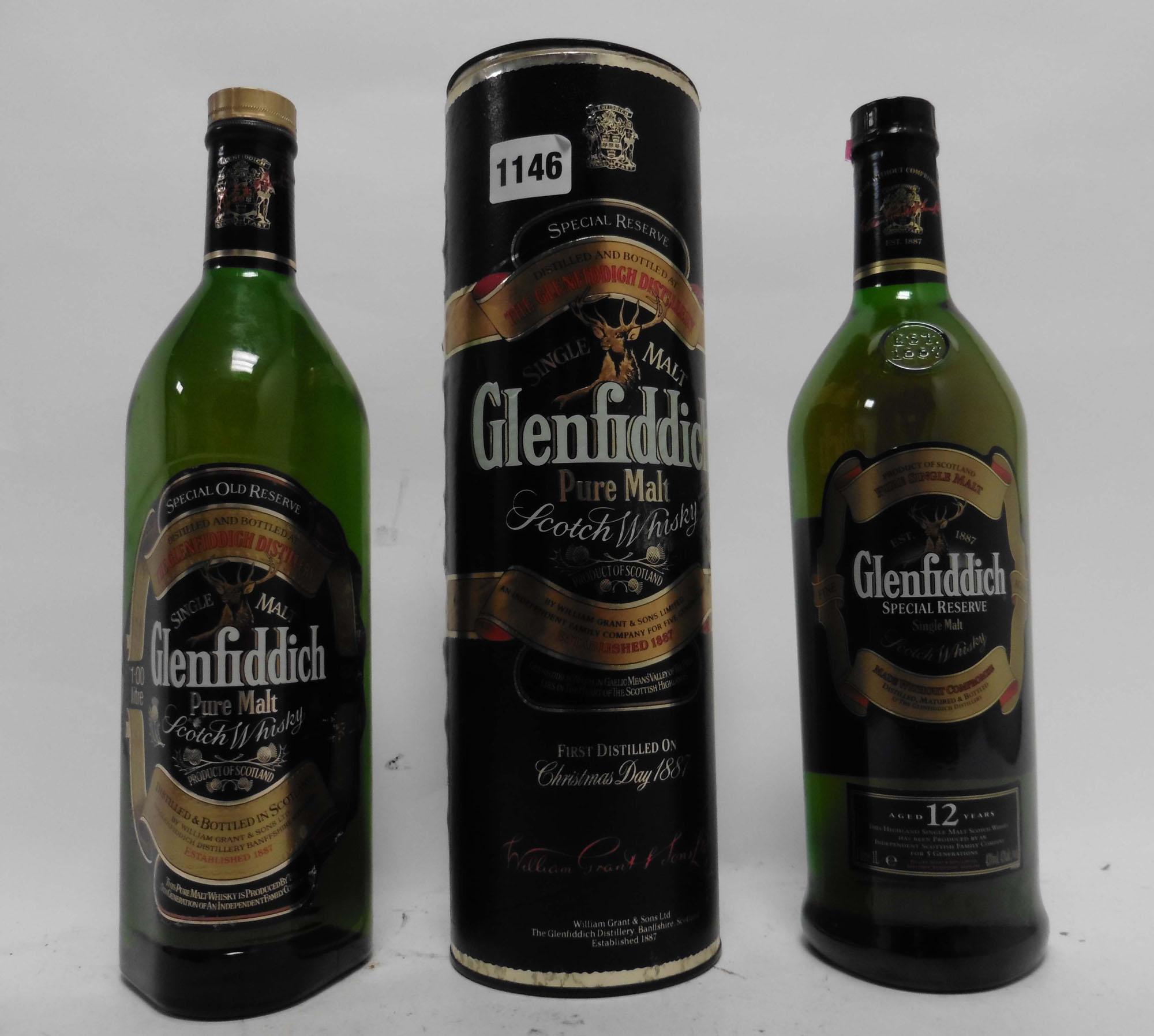 2 bottles of Glenfiddich Single Malt Scotch Whisky,