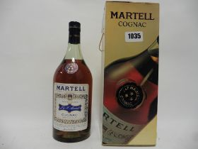 An old bottle of J&F Martell 3 star Cognac with box,