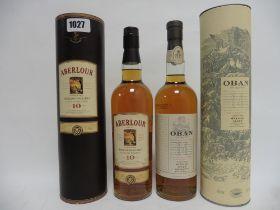 2 bottles, 1x Oban 14 year old Single Malt West Highland Malt Scotch Whisky with carton,