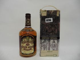 An old bottle of Chivas Regal 12 Year old Scotch Whisky with box Hills Duty Free circa early 1970's