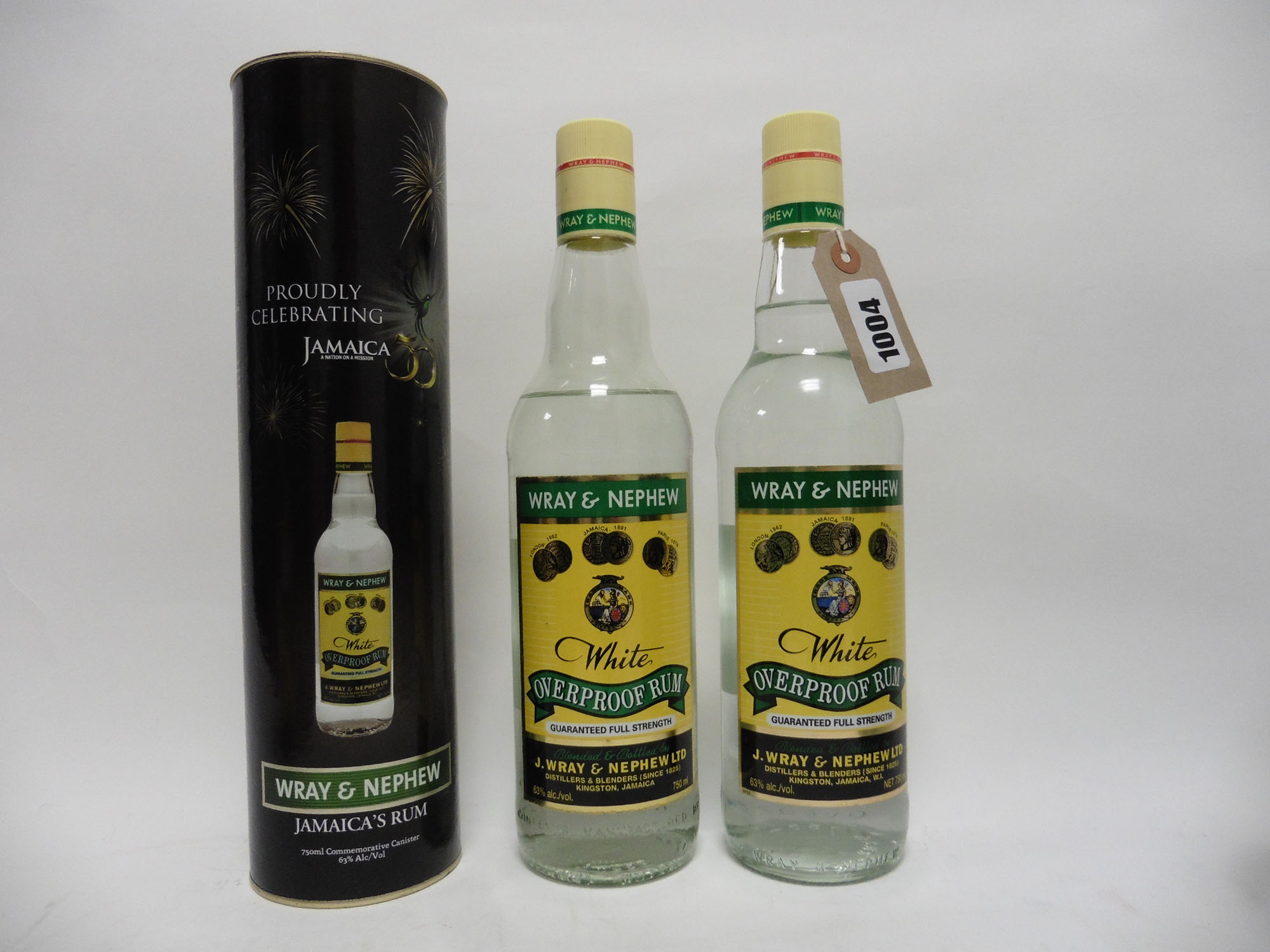 2 bottles of Wray & Nephew White Overproof Rum circa 1980's with 1 box, 75cl 63%