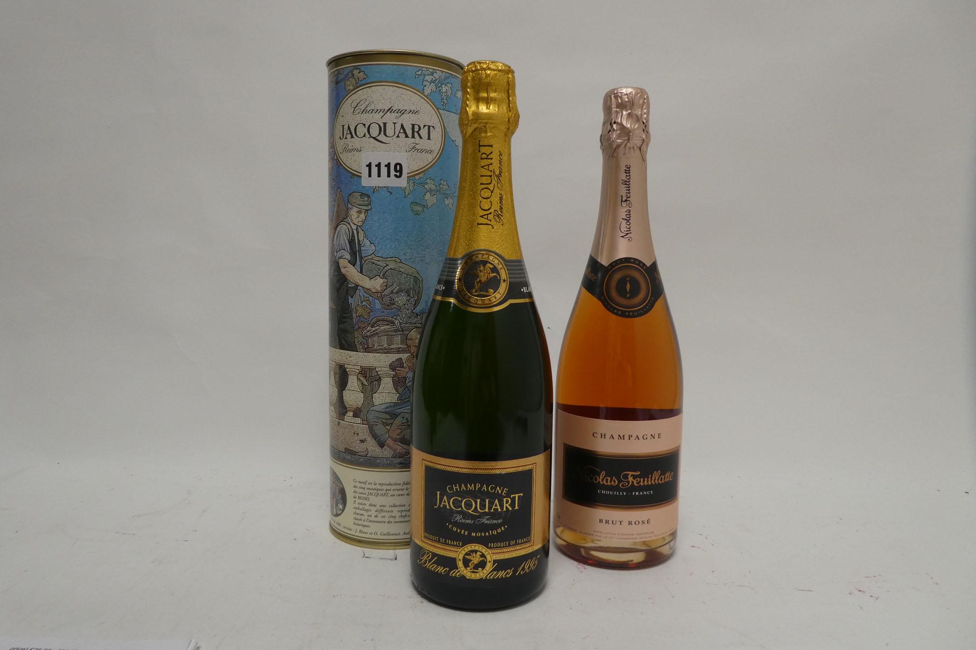 2 bottles, 1x Jacquart Cuvee Mosaigue Blanc de Blancs 1995 with carton 75cl 12. - Image 2 of 2