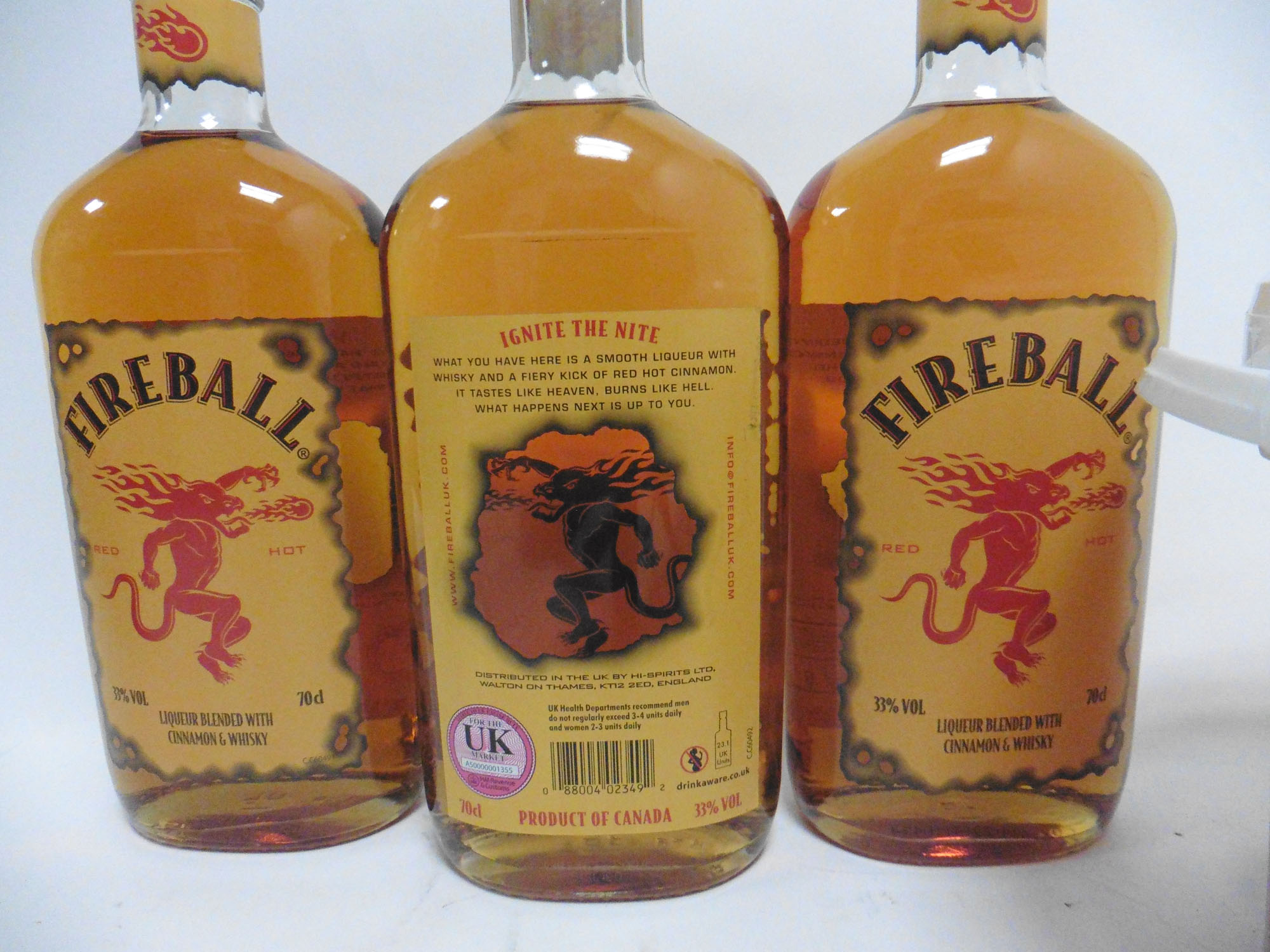 A bucket & 3 bottles of Fireball Red Hot Liqueur blended with Cinnamon & Whisky 3x 70cl 33% & Bucket - Image 3 of 3
