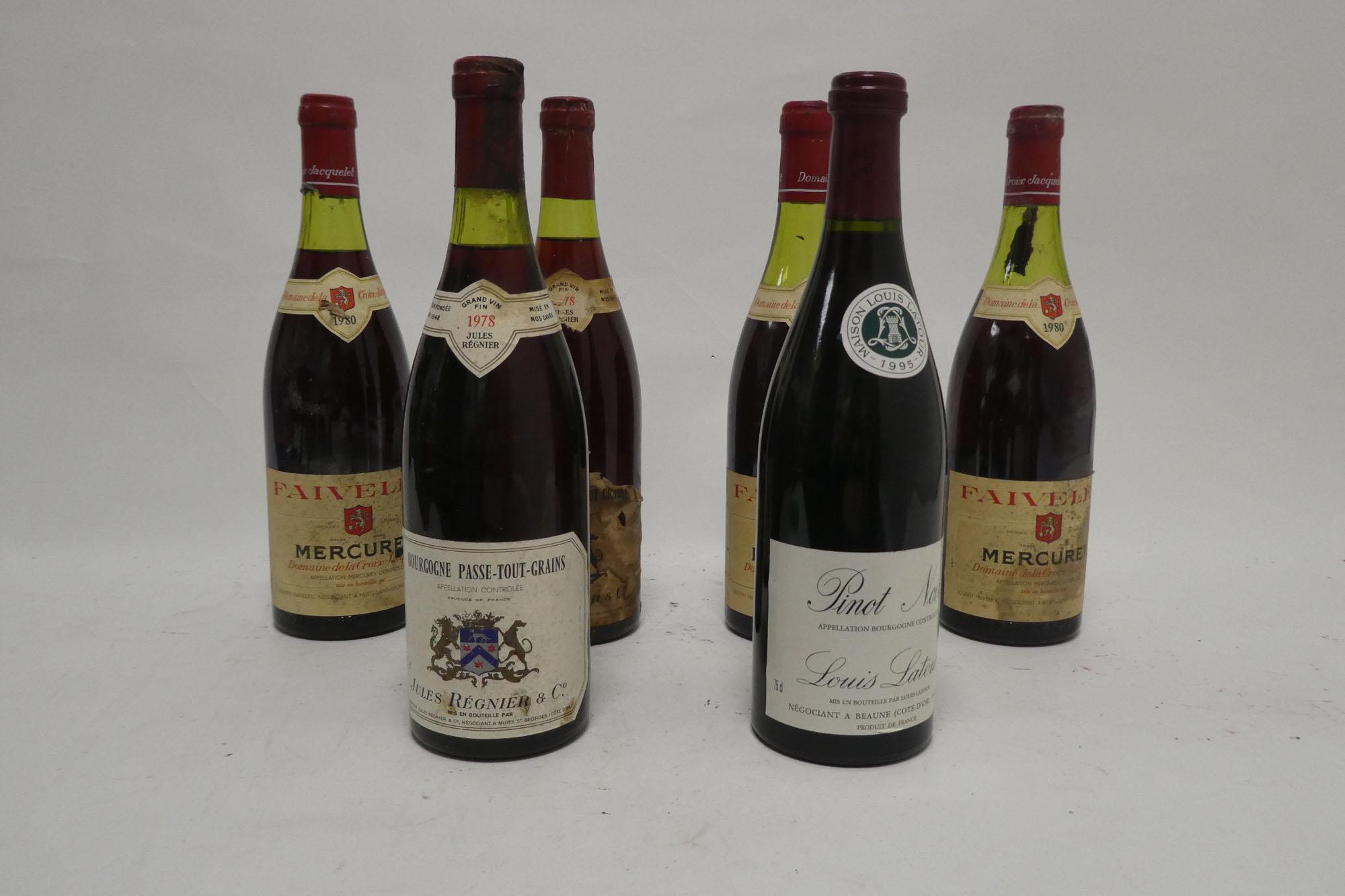 6 bottles Red Burgundy, 1x Louis Latour Pinot Noir 1995,