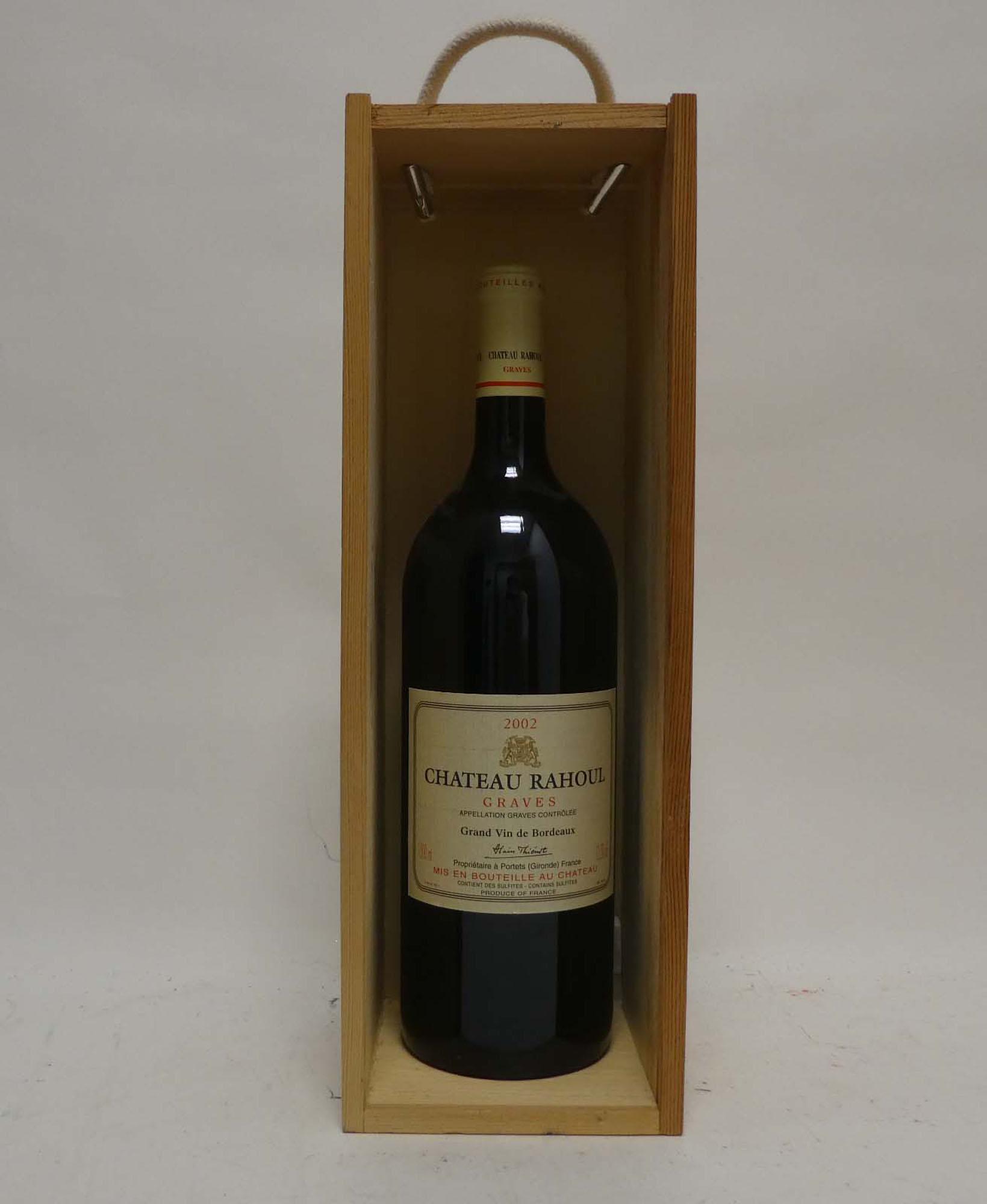 A Magnum of Chateau Rahoul 2002 Graves Grand Vin de Bordeaux with wooden box