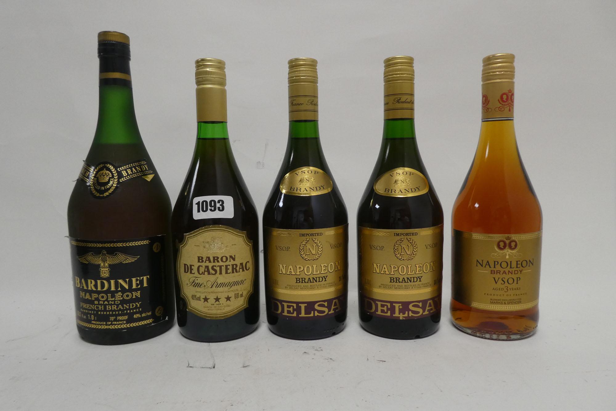 5 bottles, 2x Delsay VSOP Napoleon French Brandy 70cl 36%,
