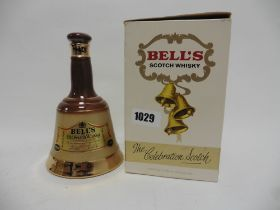 An old Bell's Celebration Wade bell Decanter circa late 1960s/early 1970s with box 13 1/3 fl oz 70